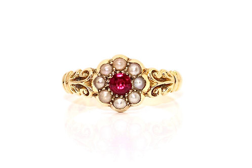 A Spendid Antique Edwardian C1905 18ct Yellow Gold Ruby & Pearl Cluster Ring