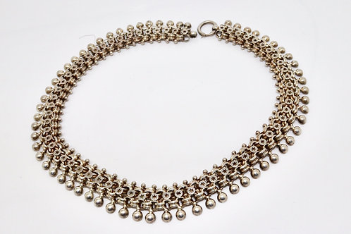 A Fine Antique Victorian Sterling Silver 925 Fancy Link & Beaded Collar