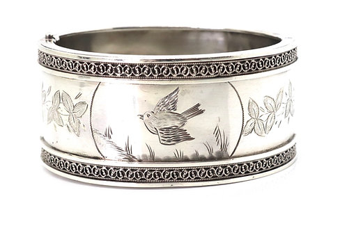 A Heavy Antique Victorian C1884 Sterling Silver 925 Bird Bangle Bracelet