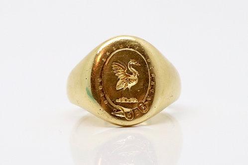 "A Crisp Antique C1920 18ct Yellow Gold ""Aperto Vivere Voto"" Bird Seal Ring#13042"