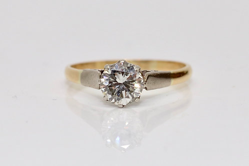 A Very Nice Vintage 18ct Yellow Gold & Platinum 0.80ct Diamond Solitaire Ring