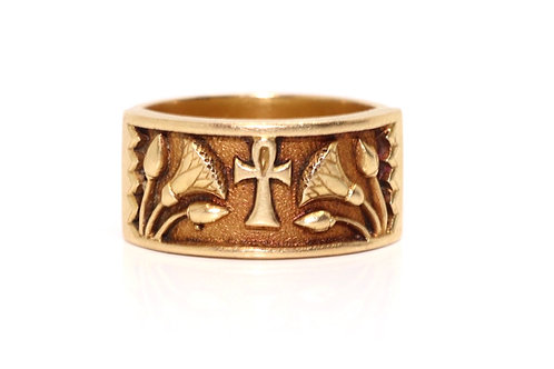 A Unique Antique C1901 18ct Yellow Gold Egyptian Revival Engraved Ring #16182