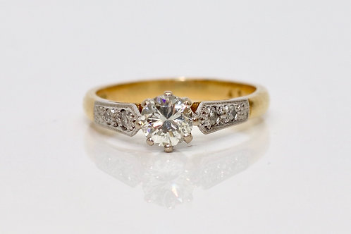 A Nice Vintage 18ct Yellow Gold & Platinum 0.40ct Diamond Solitaire Ring