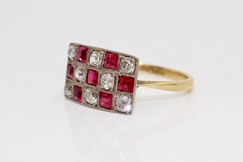 A Very Nice Large Art Deco 18ct Yellow Gold Ruby & Diamond Chequered Board Ring
