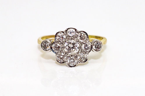 A Stunning Vintage Art Deco Style 18ct Yellow Gold 0.55TCW Diamond Cluster Ring