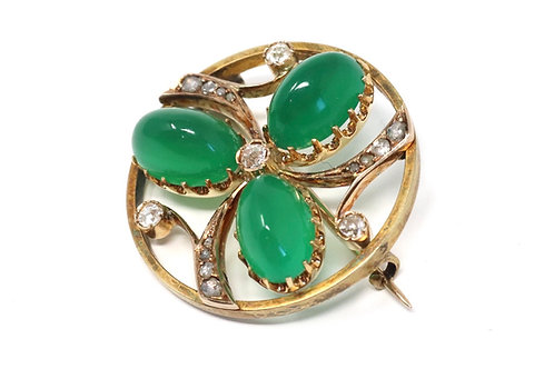 A Sublime Antique Victorian 18ct Gold Cabochon Chrysoprase & Diamond Brooch