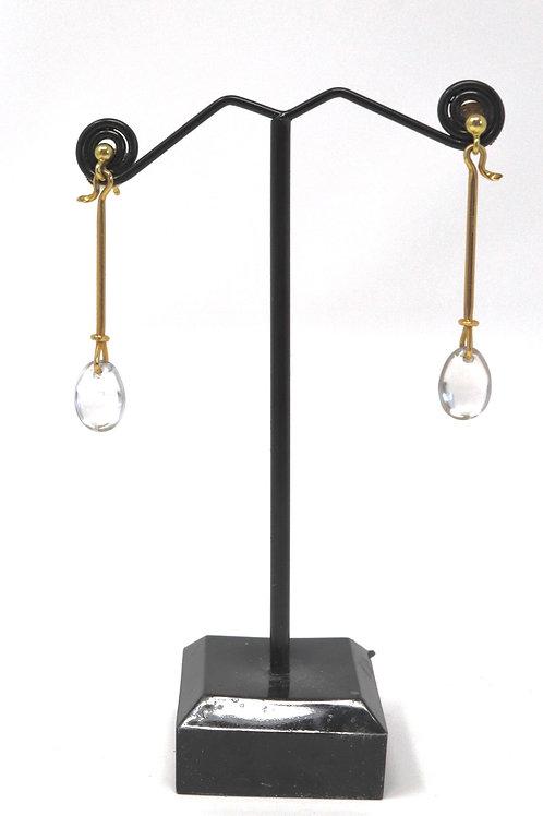 A Stunning Pair of Vintage 18ct Gold Georg Jensen Rock Crystal Dropper Earrings