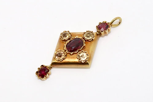 A Beautiful Antique Mid Victorian 15ct 625 Gold Almandine Garnet & Topaz Pendant
