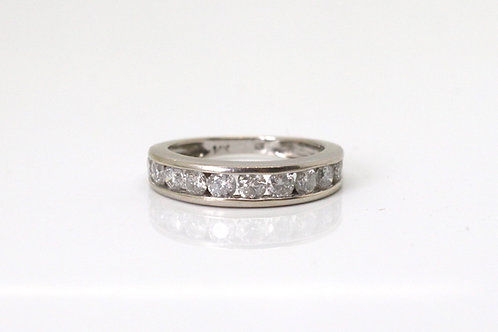 A Superb Vintage 14k 585 White Gold 1.10ct Diamond Half Eternity Ring