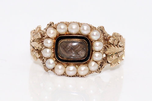 A Crisp Antique Georgian C1831 15ct Gold Enamel & Seed Pearl Hair Mourning Ring