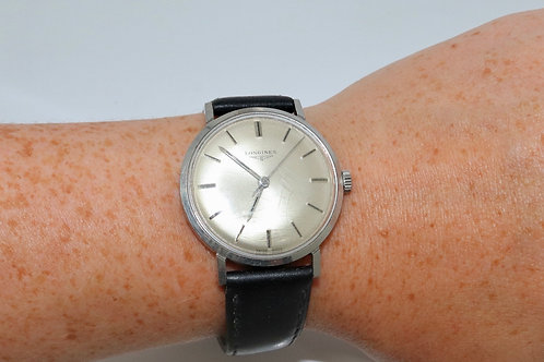 A Nice Vintage Gent's C1960's Stainless Longines Manual Wind Wristwatch Cal 284