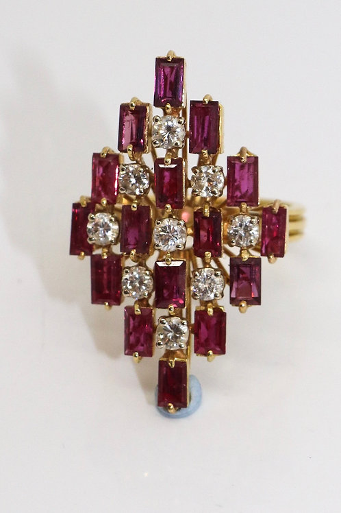 An Exquisite Large Vintage C1980 18ct Gold Tourmaline & Diamond Cluster Ring