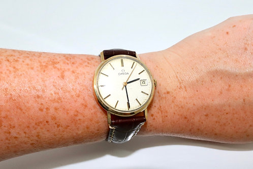 A Nice Vintage C1978 Gent's 9ct 375 Yellow Gold Omega Manual Wind Wristwatch