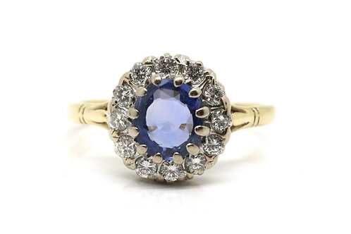 A Fine Vintage Art Deco Style 18ct Yellow Gold Sapphire & Diamond Cluster Ring