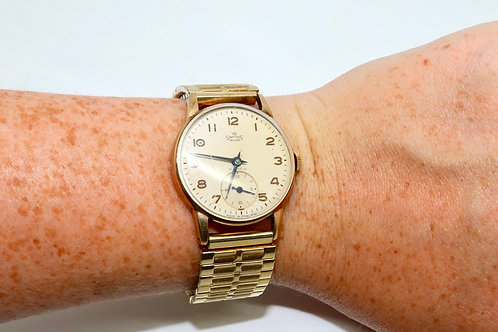 A Nice Vintage C1958 Gent's 9ct 375 Yellow Gold Smiths De-Luxe Manual Wristwatch