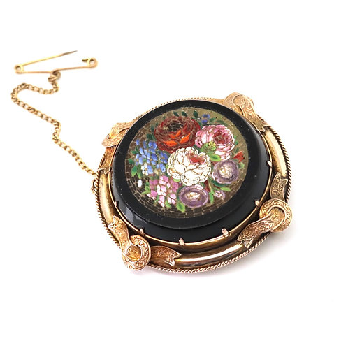 Simply Beautiful Heavy Antique Victorian Rose Gold Floral Micro Mosaic Brooch