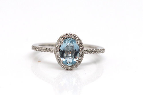 A Nice Art Deco Design 18ct 750 White Gold Aquamarine & Diamond Cluster Ring