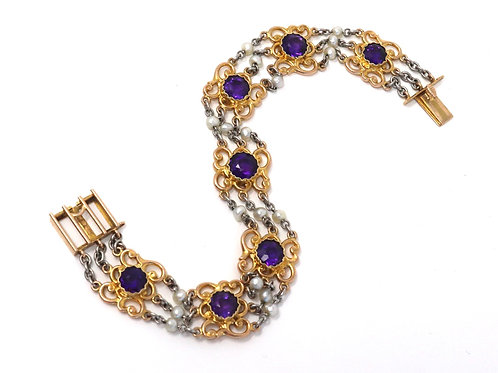 A Sublime Antique Edwardian 15ct Gold & Platinum Pearl & Amethyst Bracelet