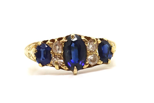A Pretty Antique Edwardian 18ct Gold Sapphire & Diamond Cluster Ring #17329