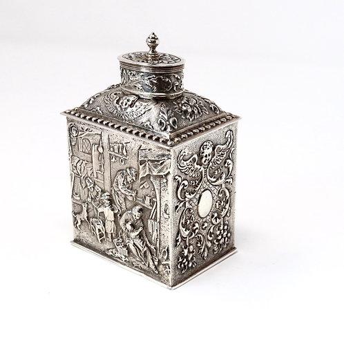 A Splendid Antique C1925 Solid Silver Embossed Hanau Tea Caddy Box Adolph Davis