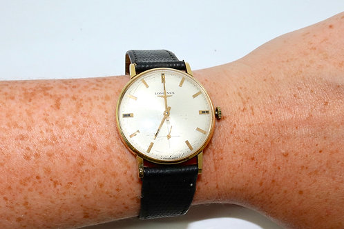 A Nice Vintage C1960's 18ct 750 Yellow Gold Longines Manual Wind Wristwatch