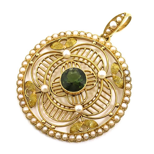 A Superb Antique Edwardian 15ct 625 Yellow Gold Tourmaline & Seed Pearl Pendant