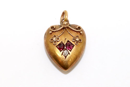 A Detailed Antique Victorian 15ct Gold Ruby & Diamond Etruscan Heart Pendant