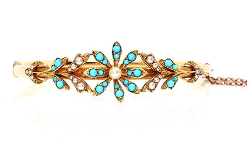 An Exquisite Antique Victorian 15ct Gold Turquoise & Seed Pearl Flower Bangle