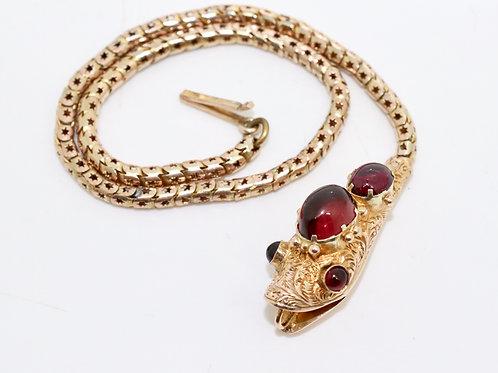 A Very Nice Antique Victorian 9ct 375 Rose Garnet Cabochon Snake Bracelet