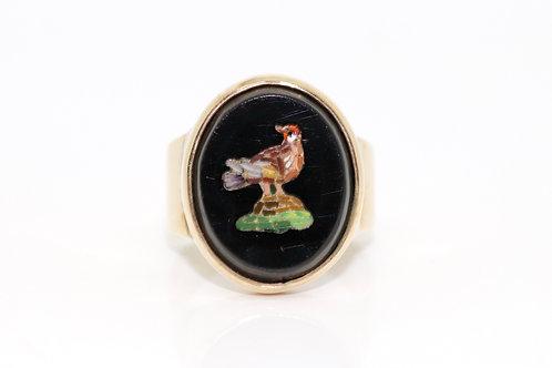 A Fabulous Antique Victorian 9ct 375 Yellow Gold Micro Mosaic Bird Ring