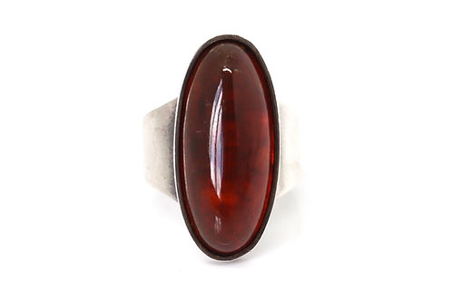 A Nice Quality Vintage Carl Ove Frydensberg 925 Sterling Silver Amber Ring