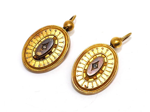 A Stunning Pair of Antique Victorian C1890 15ct Gold Rose Cut Diamond Earrings