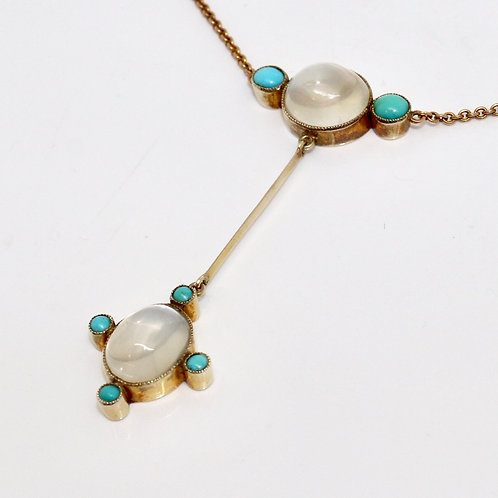 A Stunning Antique Edwardian 9ct 375 Rose Gold Moonstone & Turquoise Necklace