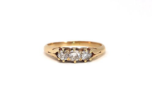 A Superb Antique Victorian 18ct Yellow Gold 0.65ct Three Stone Diamond Ring