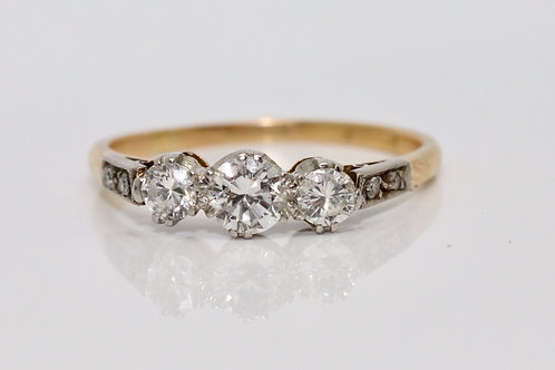 A Fine Vintage C1950's 18ct Gold & Platinum 0.65ct Three Stone Diamond Ring