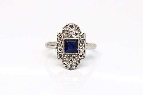 A Superb Antique Art Deco Platinum 950 Sapphire & Diamond Panel Cluster Ring