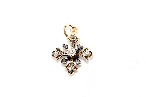 A Splendid Antique Victorian C1870 15ct Gold Old Cut Diamond Cross Pendant Charm