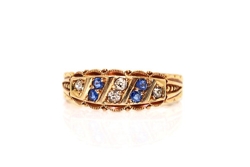 A Superb Crisp Antique Edwardian C1901 18ct Gold Sapphire & Diamond Band Ring