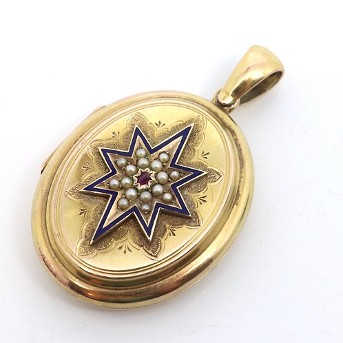 A Quality Antique Victorian 15ct Yellow Gold Ruby Pearl Starburst Locket Pendant