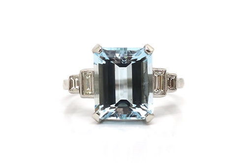 A Fine Art Deco Style Platinum 5.30ct Aquamarine & Diamond Cluster Ring #17628