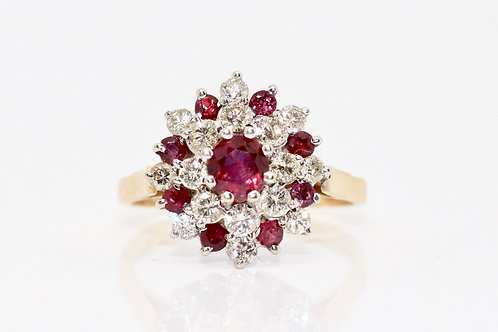 An Impressive Large Vintage 18ct Gold 0.80ct Diamond & Ruby Cluster Ring