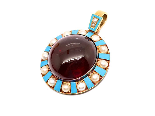 A Sublime Antique Victorian 15ct Gold Cabochon Garnet & Pearl Enamelled Pendant