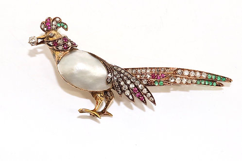 An Antique Edwardian 18ct Gold Blister Pearl Diamond Ruby & Emerald Bird Brooch