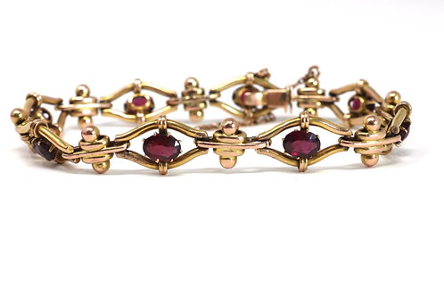 A Lovely Antique Edwardian 9ct Yellow Gold Almandine Garnet Bracelet #23590