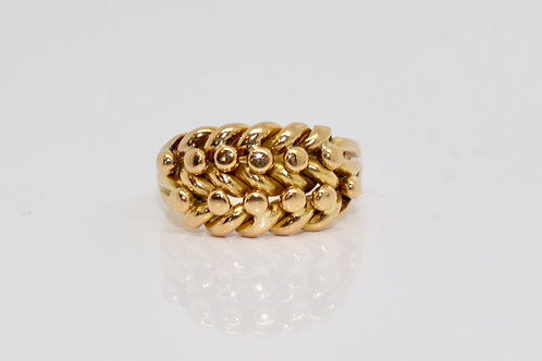 A Beautiful Antique Edwardian C1908 18ct 750 Yellow Gold Keepers Ring