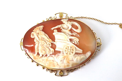 A Fabulous Large Antique Victorian 9ct Yellow Gold Carved Chariot Cameo Brooch
