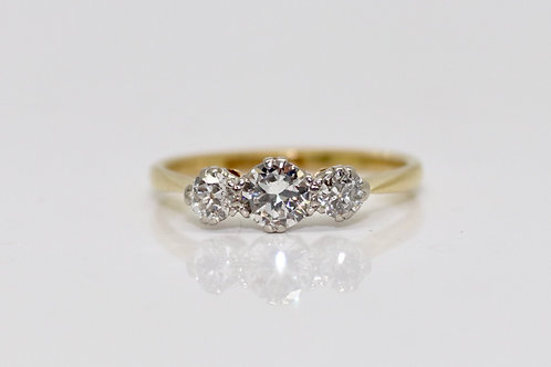 A Petite Antique Art Deco 18ct Gold & Platinum 0.55ct Diamond Three Stone Ring