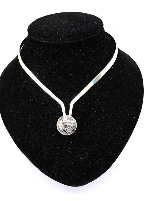A Super Vintage 1960's Alton Designer Sterling Silver Rutilated Quartz Necklace