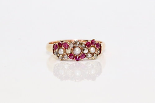 A Fine Antique Victorian 18ct Yellow Gold Ruby, Pearl & Rose Cut Diamond Cluster