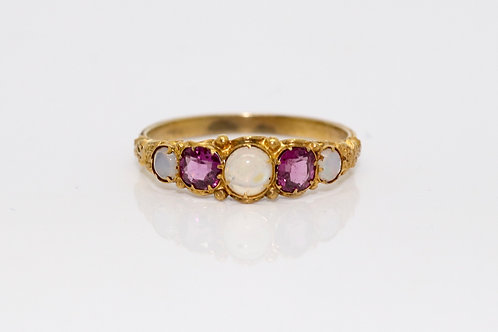 A Fine Antique Mid Victorian 15ct 625 Gold Water Opal & Garnet Five Stone Ring
